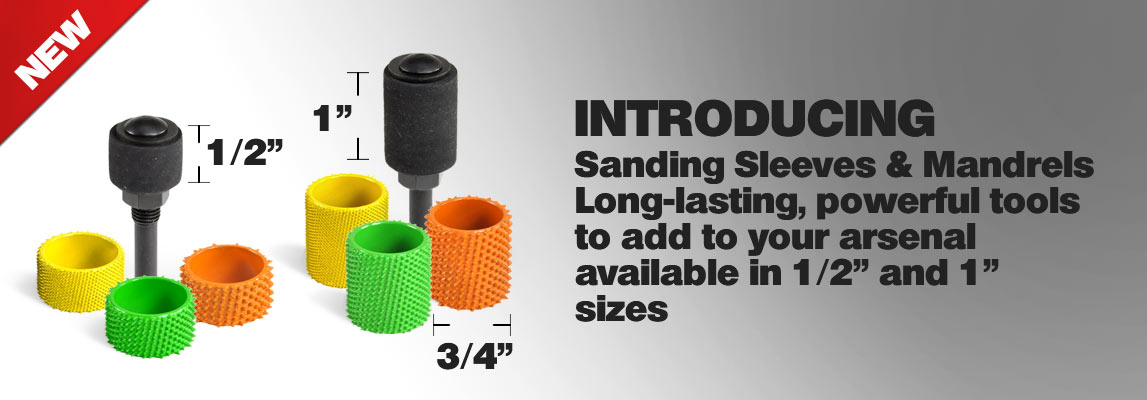 NEW Sanding Sleeves in fine, medium, coarse & extra coarse grits